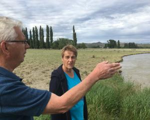 Ophir residents Malcolm Topliss  and Irene Leask  investigate the damage caused to local farmland...