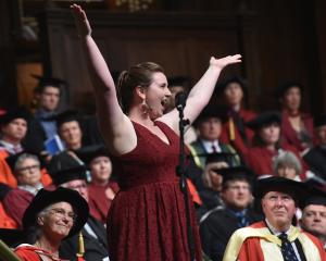 Soprano Ingrid  Fomison sings during the first of two University of Otago graduation ceremonies...