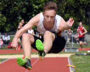 John McGlashan College's Liam Wilson during a gold-medal performance in the junior boys para long...