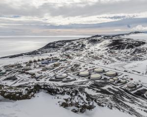 US Antarctic research station, McMurdo Station Antarctica from the top of Observation Hill. Photo...