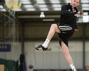 Michael Sannum drills the ball into the net at the Edgar Centre this week. Photo by Gerard O'Brien.