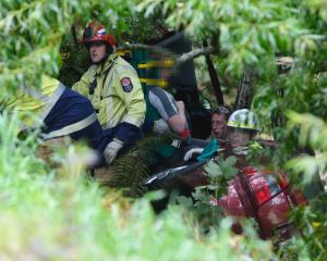 Emergency services work to free a man trapped down a bank near Mosgiel. Photo: Gerard O'Brien