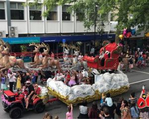 The Nelson Santa parade on Sunday, in which Santa Claus was played by Robert Herewini wearing a...
