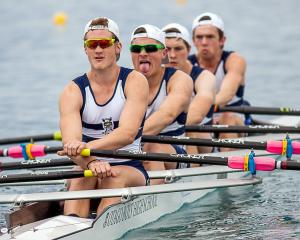 Otago Boys' High School's winning under-18 coxed quad crew of (back to front) Ben Mason, Thomas...