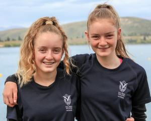Columba College twin sisters Josie (left) and Ella Herbert at Lake Ruataniwha during the Otago...