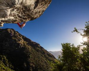 Michal Karnik climbs one of  Queenstown's hardest routes at Wye Creek on Eweniverse. Photo:...