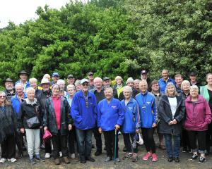 New Zealand Motor Caravan Association members and tour helpers in the ''enchanted forest'' area...