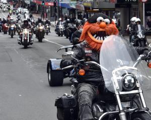 Phil Herriott, of Dunedin, wears his  Muppet helmet as he rides his Harley-Davidson into the...