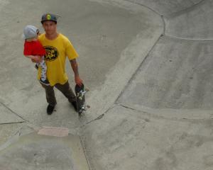Wanaka Skate Club president Tom Peden and son Austin (1) stand in one of the bowls at the Wanaka...