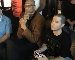Playing NBA 2K next to six-time NBA Most Valuable Player Kareem Abdul-Jabbar. Photo: Supplied