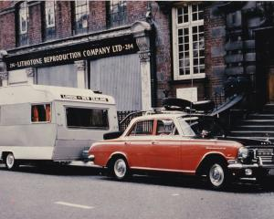 Howard Anderson's Vauxhall Cresta and Sprite caravan in London in 1969. Photo: Supplied