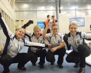 The Finnish women's curling team of (from left) Lotta Immonen, Maija Salmiovirta, Eszter Juhasz...