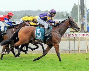 Air Max wins the listed Gore Guineas on Saturday from Dreamtesta (yellow), Weaponry (obscured)...
