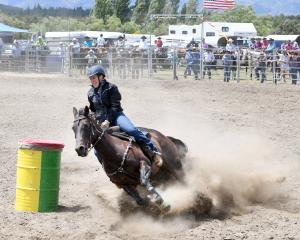 Alyce Perkins from Gore competes in the open barrel race at the Wanaka rodeo. Photo: Stephen...