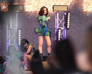 Hip-hop star Cardi B on stage at Bay Dreams. Photo: NZ Herald