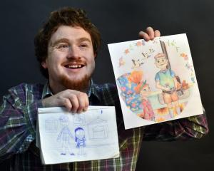 Cody Knox with his rough drawing of the characters in new children's book My Grandpa's Jars and...