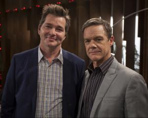 Darius Perkins (left) and fellow Neighbours star Stefan Dennis pictured in 2013. Photo: Supplied