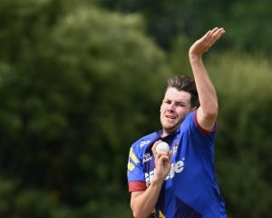 Otago seamer Jacob Duffy in action during the rained-off Super Smash match against Auckland at...