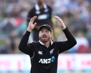 Martin Guptill of the New Zealand Blackcaps reacts during the One Day International match between...