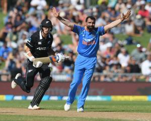 Mohammed Shami of India appeals during game one of the One Day International series between New...