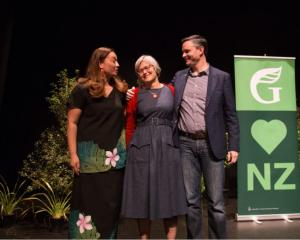 Green Party co-leaders Marama Davidson (left) and James Shaw (right) and Green MP Eugenie Sage ...