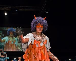 Piper Ryland wears her wearable art piece at the 2018 FibreOctave Wearable Arts Awards. Photo:...