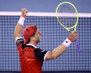 Jan-Lennard Struff celebrates after his dramatic win last night at the ASB Classic. Photo: Getty...