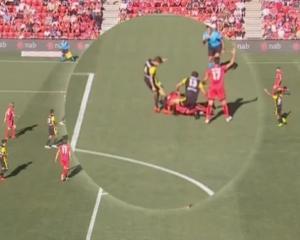 Phoenix midfielder Mandi puts the boot in against Adelaide. Photo: NZ Herald