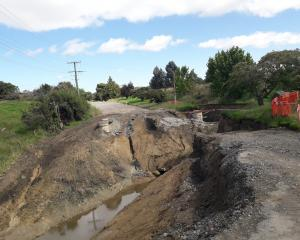 Excavation work at Westview Dr, Weston, where two sections of a culvert collapsed after November...