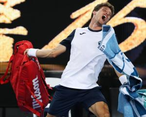 Pablo Carreno Busta vents his frustration after losing at the Australian Open. Photo: Getty Images