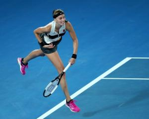 Petra Kvitova follows through on a serve during her semifinal win at the Australian Open. Photo:...