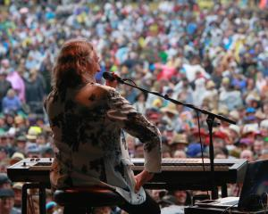 Former Supertramp frontman Roger Hodgson chats to the crowd during his set at the Gibbston Valley...