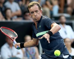 Rubin Statham in action during his loss to Jan-Lennard Struff at the ASB Classic. Photo: Getty...