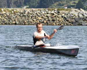 Richard Campbell trains on the Otago Harbour in preparation for next month's Coast to Coast....