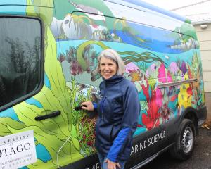 New Zealand Marine Studies Centre director Sally Carson stands next to the Aquavan which she says...