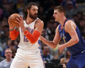 Steven Adams posts up against Nikola Jokic earlier this season. Photo: Getty Images