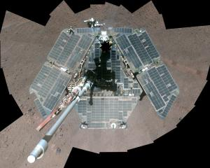 A portrait of NASA's Mars Exploration Rover Opportunity in a combination of frames taken by its...