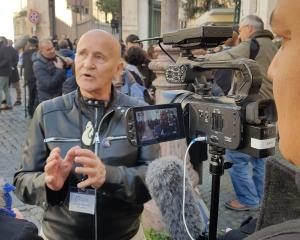 Dr Murray Heasley speaks to media while in Rome this week, during a major gathering of bishops...