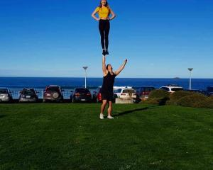 Coaches: Graham and Bobby partner stunting at St Clair beach