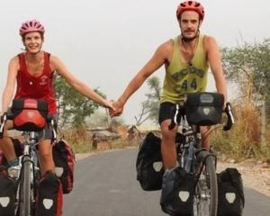 Tane Welton, 33, and Anneke Liefting, 29, have cycled some 24,000km through 28 countries in 21...
