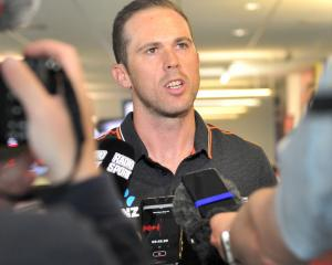 Black Caps leg-spinner Todd Astle talks to the media at Dunedin International Airport yesterday
