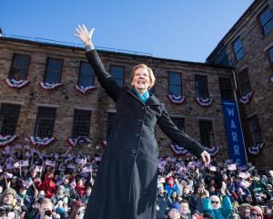 Democratic Senator Elizabeth Warren at the launch of her presidential bid in Lawrence,...
