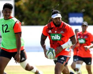 Ma'a Nonu (with ball) in action at a Blues training session at Alexandra Park in Auckland this...