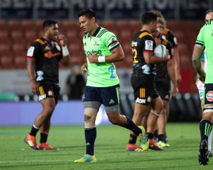 Highlanders midfielder Sio Tomkinson leaves the field after receiving a red card during his team...