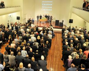 Friends and family members celebrate leading Dunedin figure Graham Crombie at Dunedin's Glenroy...