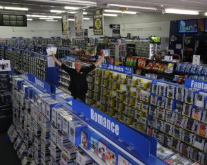 South City United Video Store, which owner Daryle Blackler claims is the biggest in New Zealand....