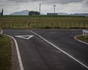 Tyre marks can be seen on Massey Rd where a woman crashed and died on Sunday night. Photo:...