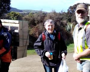 Tautuku Restoration Project volunteers (from left) Jorge Jimenez, Francie Beggs and Roy Johnstone...