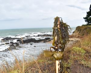 A pou marks the site where Kereta Tatana (24), of Ahipara, Northland, and Wharerika Popata (30),...