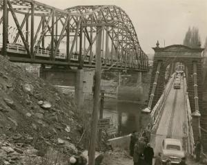 "Alexandra's new ""blue"" bridge is opened on July 5, 1958, alongside the original bridge, which..."
